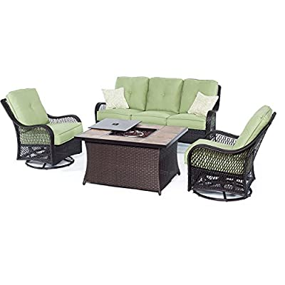 Hanover ORLEANS4PCFP-GRN-B 4 Piece Orleans Woven Lounge Set with Fire Pit Table, Avocado Green Outdoor Furniture - Set includes one deep-seating Sofa, two woven swivel rockers and one fire pit Coffee Table Premium resin weave, hand-crafted to be stronger than traditional wicker 40, 000 BTU fire pit operates off a 20 lb. Propane gas tank (tank not included) - patio-furniture, patio, conversation-sets - 41Vxmoho8sL. SS400  -