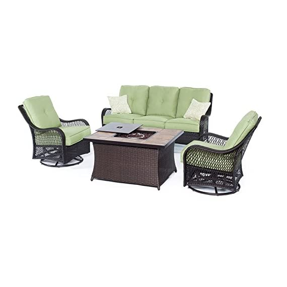 Hanover ORLEANS4PCFP-GRN-B 4 Piece Orleans Woven Lounge Set with Fire Pit Table, Avocado Green Outdoor Furniture - Set includes one deep-seating Sofa, two woven swivel rockers and one fire pit Coffee Table Premium resin weave, hand-crafted to be stronger than traditional wicker 40, 000 BTU fire pit operates off a 20 lb. Propane gas tank (tank not included) - patio-furniture, patio, conversation-sets - 41Vxmoho8sL. SS570  -