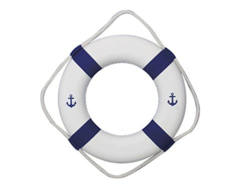 Classic White Decorative Anchor Lifering with Blue Bands 15'' - Anchor Life Ring by Handcrafted Model Ships
