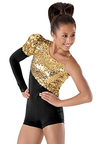 Balera Asymmetrical Dance Biketard Ultra Sparkle Leotard with Single Long Sleeve - Recital Costumes Hip Hop