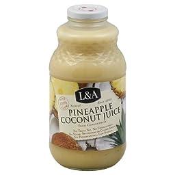 L & A Juice Pineapple Coconut Juice, 32 oz