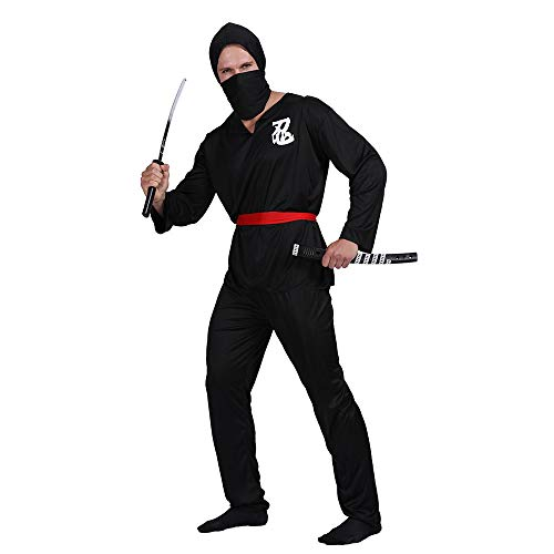 Ninja Costume Adult Japanese Samurai Assassin Cosplay Asian Ancient Warrior Swordsman Suit Halloween Fancy Dress (L, Black) -