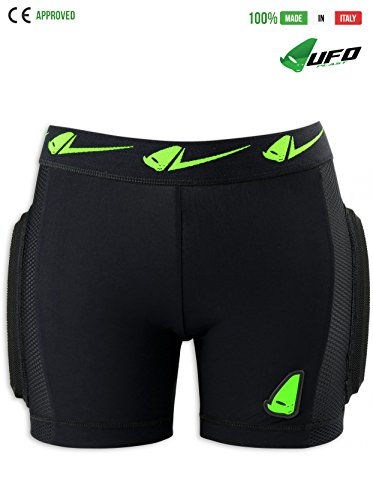 UFO PLAST Made in Italy PI02355 KOMBAT Padded Shorts for Kids / Hip, Side, Removable Back Multilayer Protection / Light-Breathable Fabric, Perforated Microshock Material / Size: M / Color: Green by UFO Plast