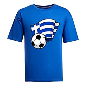 Custom Mens Cotton Short Sleeve Round Neck T-shirt,2014 Brazil FIFA World Cup Soccer Flags blue