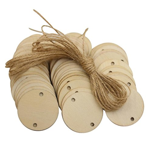 Mybbshower Unfinished Natural Wooden Birthday Board Tags with 20 Feet Twine Ready to Paint 1-1/ 2 Inch Pack of 60 Family Circle Crafts