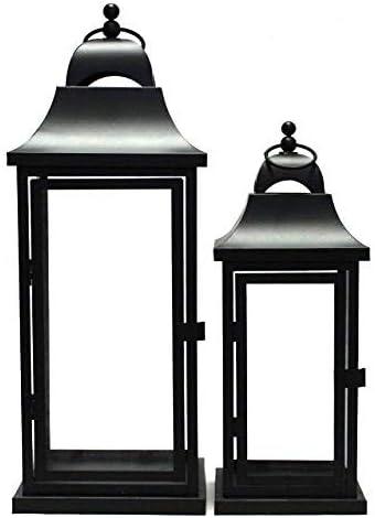 Set Of 2 Tall Lanterns Metal Glass Black Set 2 Amazon Co Uk Kitchen Home