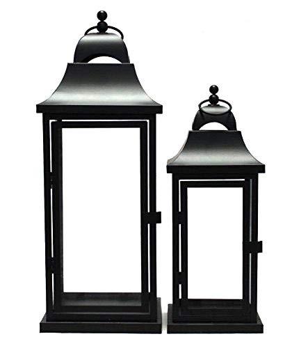 Link Products Juego de 2 faroles de metal y cristal, color negro