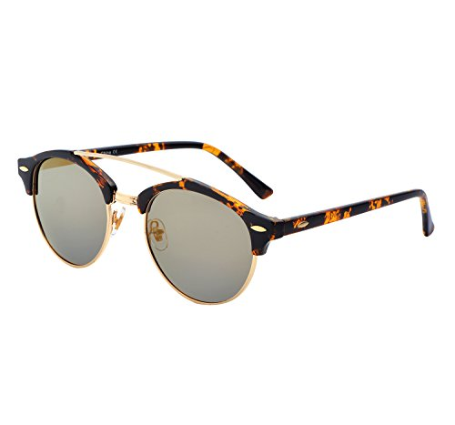YANQIUYU Classic Retro 50's Semi Rimless 3016 Round Polarized Clubmaster Sunglasses with Metal Rivets (Brown Lens/Gold Rimmed, - Round Clubmaster
