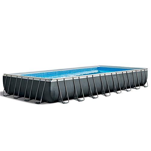 Intex Ultra XTR Rectangular Above Ground Frame Swimming Pool Set w/Pump, Gray