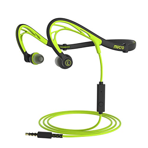 Mucro Foldable Night Running Sports Headphones, Wired Neckband Sweatproof Earphones w/Mic, HD Stereo Noise Cancelling Earbuds, Gym Workout Cycling Headsets, for iPhone Samsung Galaxy S9 Note 8 (green)