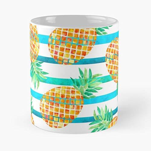 (Pineapple Stripes Watercolor - Ceramic Mugs)
