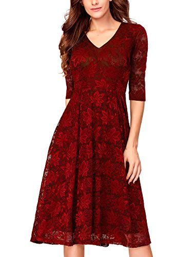 Noctflos Women's 3/4 Sleeves Lace Fit & Flare Midi Cocktail Dress for Women Holiday Party Wedding Guest (Small, Burgundy)