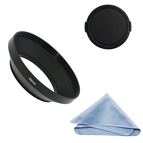 SIOTI Camera Wide Angle Metal Lens Hood + Cleaning Cloth + Lens Cap for Nikon Canon Sony Fuji Pentax Sumsung Leica Standard Thread Lens (55mm)