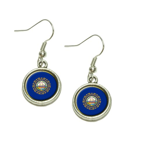 New Hampshire State Flag Dangling Drop Charm Earrings ()
