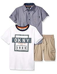 DKNY - Conjunto de camiseta y pantalón corto de sarga para niño