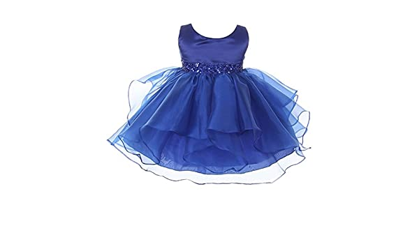2b7657d9b80 Amazon.com  Chic Baby Girls Royal Blue Organza Sequin Adorned Flower Girl  Dress 3-24M  Clothing