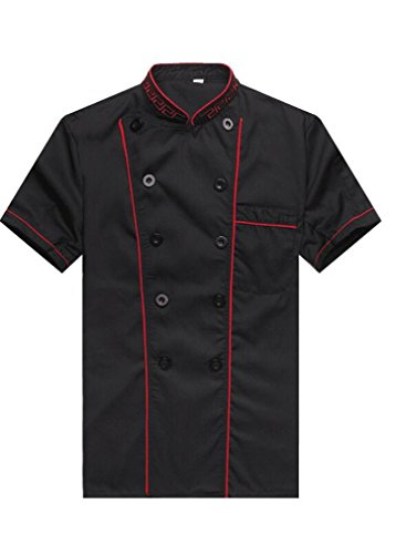 WAIWAIZUI Fashion Chef Jackets Waiter Coat Short Sleeves Size L (Label:XXL) Black (Waiter Coat)