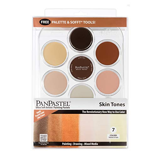 PanPastel 30081 Skin Tones 7 Color Kit Ultra Soft Artist Pastel w/Sofft Tools & Palette Tray