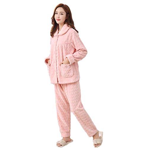 MOXIN flanella pigiami spessi signore a maniche lunghe calde e casuale abbigliamento invernale Autunno Rosa , 86344 shrimp powder , xxl