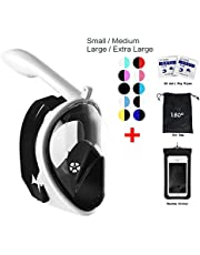 vaporcombo Snorkel Mask 180° View for Adults and Youth. Full Face Free Breathing Design.[Free Bonuses] Cell Phone Universal Waterproof Case (Dry Bag) and Anti-Fog Wipes