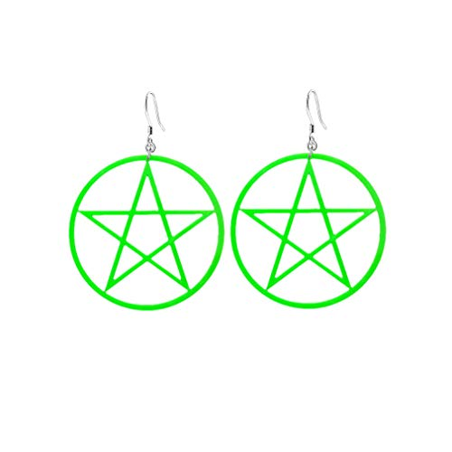 Oversize Hollow Pentagram Big Circular Earrings,Exaggerated Geometry Acrylic Dangle Earrings for Women Girls Party Gifts (Green)