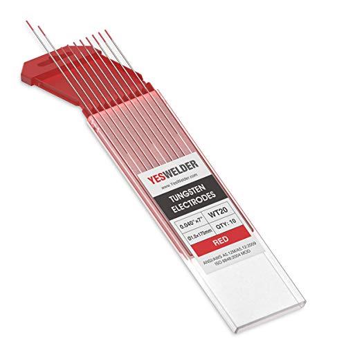 """TIG Welding Tungsten Electrode 2% Thoriated .040"""" x 7"""" (Red, EWTh-2) 10-pk YESWELDER"""
