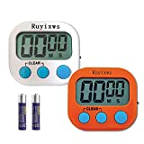 Ruyixws 2 Pack Digital Kitchen Timer with Large LCD Display, Loud Alarm, Magnetic