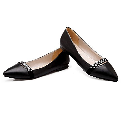 RAZAMAZA Comfort Scivolare Tacco Con Su Scarpe Black Piatto Donna vqr1zxZnwv