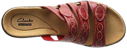 Clarks Kvinna Leisa Kaktusar Slide Sandal Rött Läder