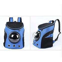 Dog Cat Space Capsule Shaped Pet Travel Breathable Shoulder Backpack Outside Travel Portable Bag,Blue,35cmX31cmX25cm