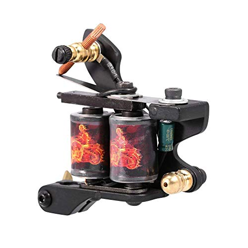 10 Warp Coils Tattoo Machine for Liner Shader Carved Frame Alloy Gun CNC Professional Handmade Tattoo Machine Connected for Tattoo Artists