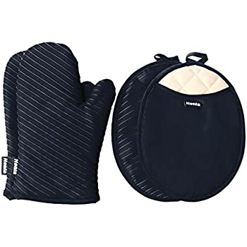 Honla Pot Holders and Oven Mitts Gloves with Silicone Printed,2 Hot Pads and 2 Potholders Set,4 Piece Heat Resistant Kitchen Linens Set for Cooking,Baking,Grilling,Barbecue,Black