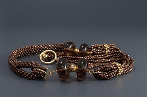 Shiva-Collier de quartz fume 'et hématite Marron