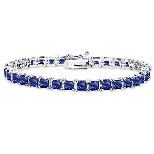 Sterling Silver Created Blue Sapphire 4mm Princess-Cut Square Classic Tennis Bracelet