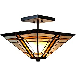 Amora Lighting AM085CL14 Tiffany-Style Mission 2-Light Semi-Flush Ceiling Fixture, 14-Inch, Multi-colored