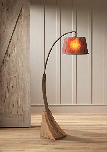 Oak River Mission Arc Floor Lamp Dark Rust Metal Pole Oak Wooden Base Natural Mica Shade for Living Room Reading Bedroom - Franklin Iron Works