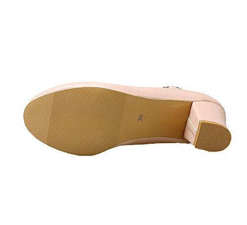 VogueZone009 Women's Buckle Kitten-Heels PU Solid Round-Toe Pumps-Shoes Pink 6LK74