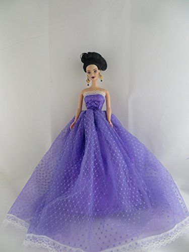 A Long Sweet Barbie Purple Tulle Covered Gown Made to Fit Barbie Doll
