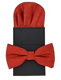 Heymei Men's Convenience Pre-tied Square Bowtie Pocket Square Handy Set No.2 (Red)