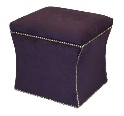Skyline Furniture Bartlett Storage Ottoman with Silver Nailbuttons in Velvet Aubergine Fabric
