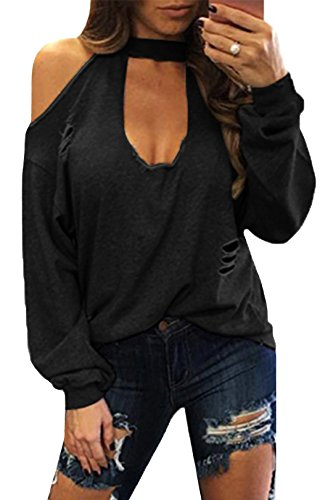 YOINS Women Sexy Cold Shoulder Plunge Neck Ripped Long Sleeves Top ,Black,X-Small