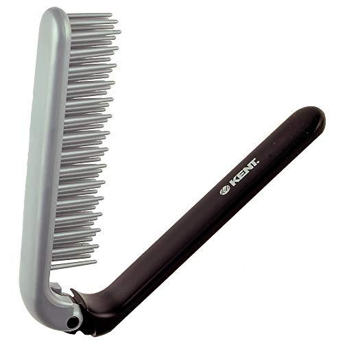 Kent Folding Hair Brush with Nylon Quill, Anti-Static - Travel/Purse Size (KFM4)