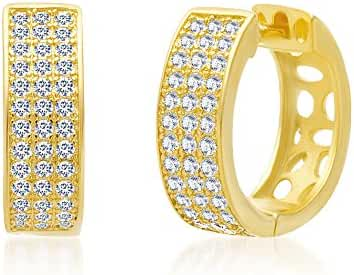 18K White / Gold Over Sterling Silver Cubic Zirconia Pave Huggie Hoop Earrings