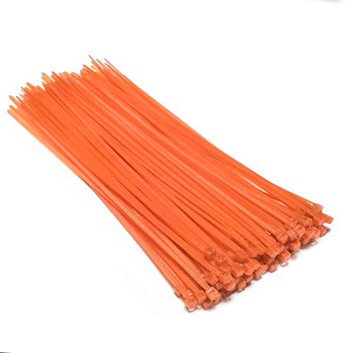 Multi-Purpose Nylon Zip Ties - (100 Piece) Self Locking Cable Ties with Ultra Strong Plastic 8, ?Multiple Colors to Choose from - Orange?