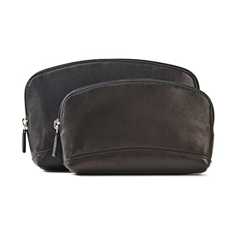 Cosmetic Bag Set - Full Grain Leather - Black Onyx (black) by Leatherology