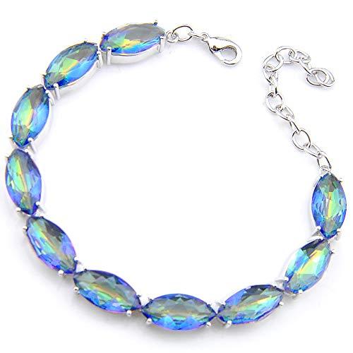 - Luckyshine Silver Eye Shape Fire Rainbow Mystic Topaz Gems Adjustable Chain Bracelets Gifts for Women Jewelry