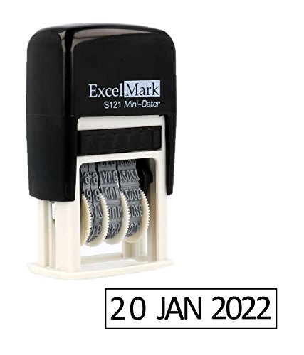 ExcelMark Self-Inking Date Stamp - Military Style/Euro Style - S121 (Black Ink)