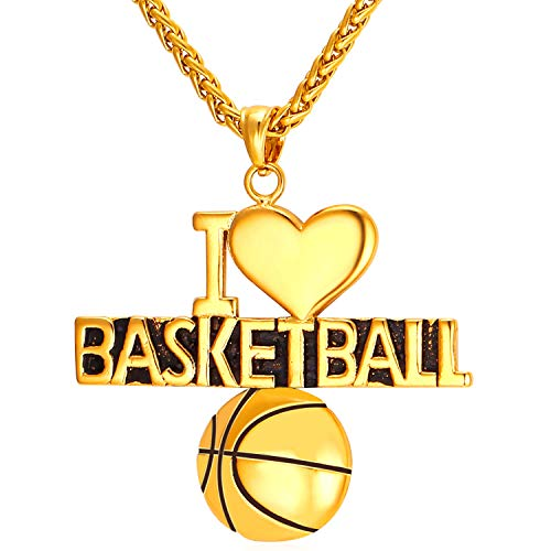 U7 Basketball Necklace I Love Heart 18K Gold Plated Chain Sport Style Pendant Personalized Jewelry