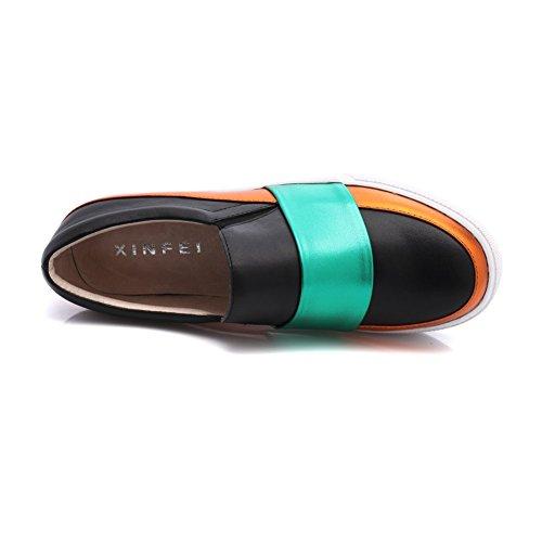 Shenn Femmes Confortable Plate-forme Glisser Sur Cuir Entraîneur Chaussures 1601 Noir&Vert dNdJ2N3
