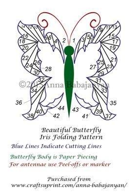Beautiful Butterfly Iris Folding Pattern by Anna Babajanyan Craftsuprint